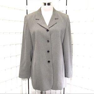 Light Grey Herringbone Career Dress Office Blazer
